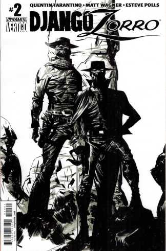 Django Zorro #2 1:50 Jae Lee Black and White Sketch Variant Dynamite 2014