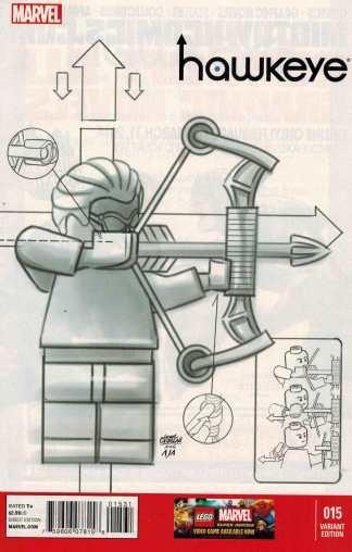 Hawkeye #15 1:100 Leonel Castellani Lego Sketch Variant Marvel Fraction Avengers
