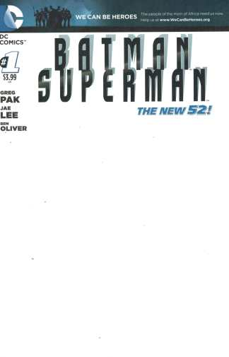 Batman Superman #1 Blank Sketch Variant DC New 52 We Can Be Heroes