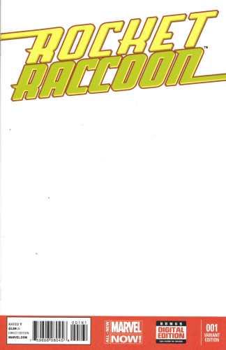Rocket Raccoon #1 Blank Sketch Variant Guardians of the Galaxy Marvel 2014