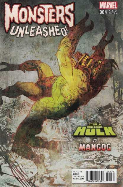 Monsters Unleashed #4 1:100 Sienkiewicz Variant Marvel 2017 Hulk vs Mangog HTF