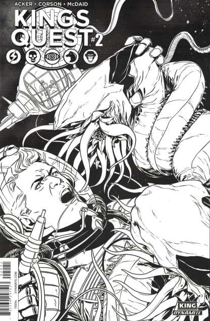 King's Quest #2 1:10 Laming Black and White B&W Sketch Variant Dynamite 2016