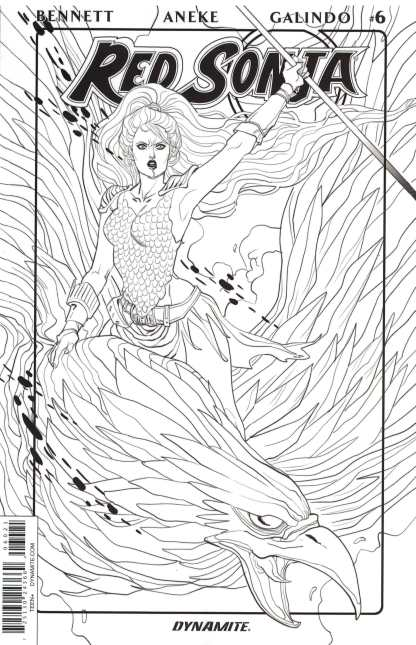 Red Sonja #6 1:10 Sauvage Black and White Variant B&W 2016 Vol 3