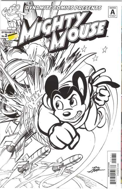 Mighty Mouse #2 1:10 Neil Adams B&W Variant Dynamite 2017