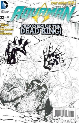 Aquaman #22 Paul Pelletier Black and White Sketch Variant