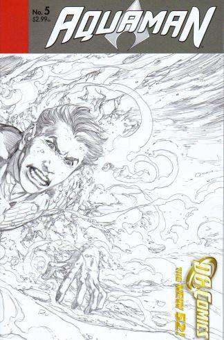 Aquaman #5 1:25 Rod Reis Black & White Sketch Variant DC New 52 2011