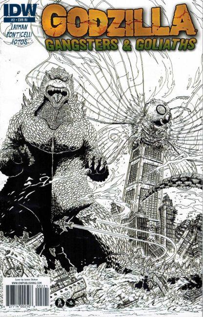 Godzilla: Gangsters & Goliaths #2 Black White Alberto Ponticelli Sketch Variant