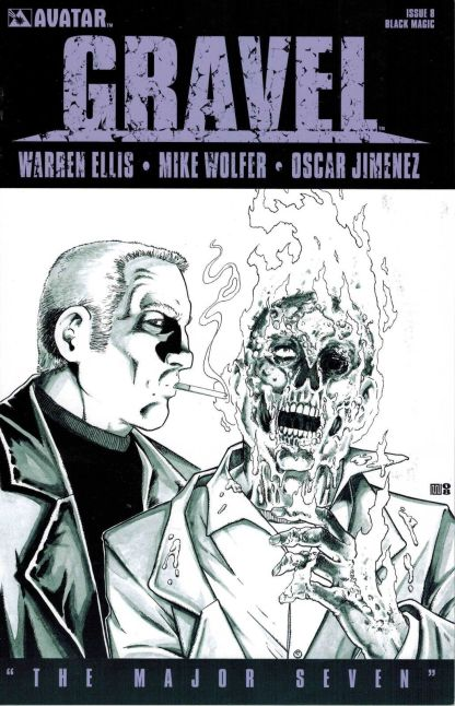 Gravel #8 Black and White Mike Wolfer Sketch Variant