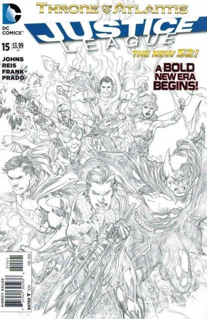 Justice League #15 1:100 Black & White Reis Sketch Variant DC New 52 2011