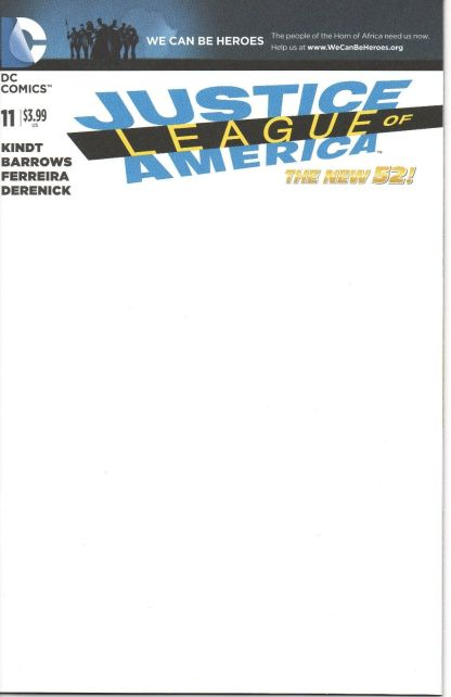 Justice League of America #11 Blank Sketch Variant DC New 52 2013
