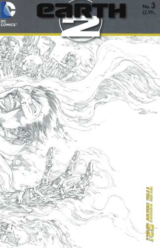 Earth 2 #3 1:25 Black and White Sketch Variant DC New 52 2012