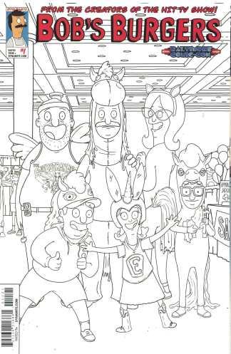 Bob's Burgers #1 Baltimore Comic-Con Sketch Black White B&W Variant 2015