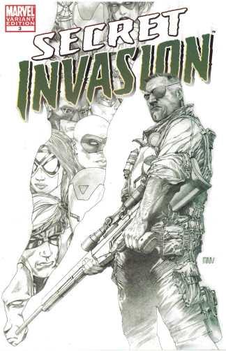 Secret Invasion #3 Steve McNiven Sketch Variant Marvel 2008 First Warriors