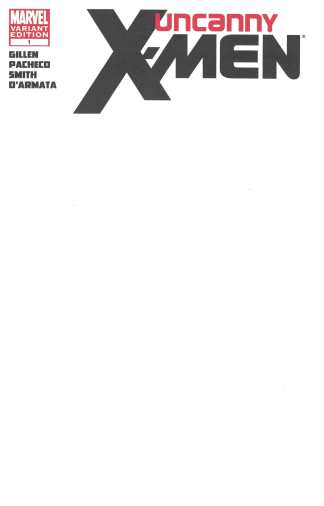 Uncanny X-Men #1 Blank Sketch Variant Marvel 2012 Kieron Gillen