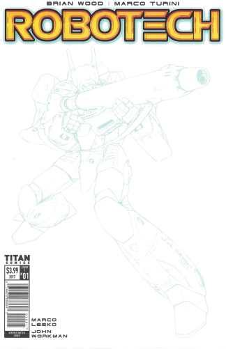 Robotech #1 Veritech Blue Line Sketch Variant Cover F Titan Comics 2017