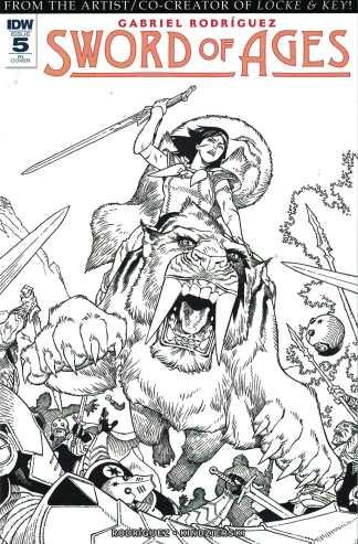 Sword of Ages #5 1:10 Gabriel Rodriguez B&W Sketch Variant IDW 2017