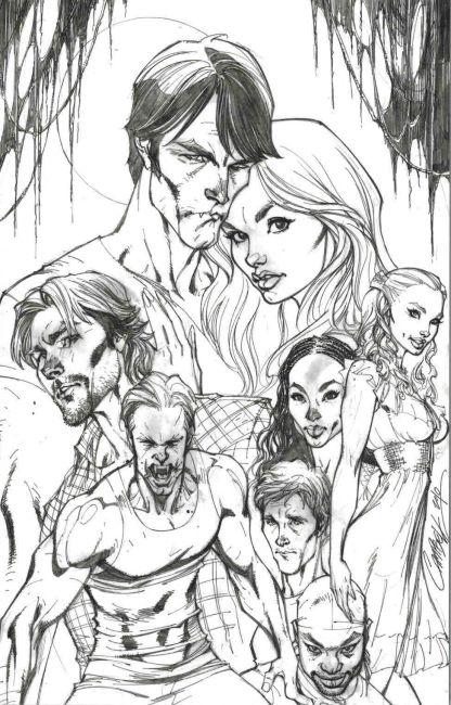 True Blood #1 J Scott Campbell Black and White Sketch Variant