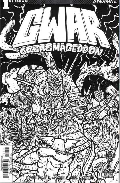 GWAR Orgsamageddon #1 1:10 Scott Wygman Black & White Variant Dynamite 2017