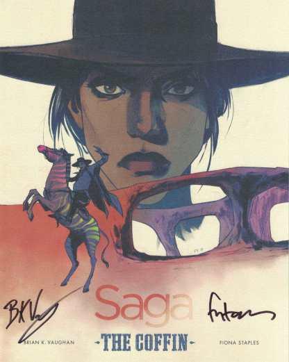 Saga #43 1:300 Color Art Print Coffin Image SIGNED Brian K Vaughan Fiona Staples