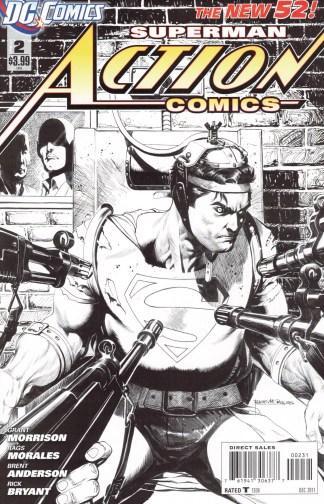 Action Comics #2 1:200 Rags Morales B&W Variant DC 2011 Grant Morrison