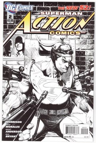 Action Comics #2 1:200 Rags Morales B&W Variant DC 2011 Grant Morrison VF/NM