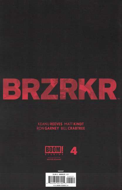 BRZRKR #4 1:25 Mirka Andolfo Variant Boom 2021 Keanu Reeves