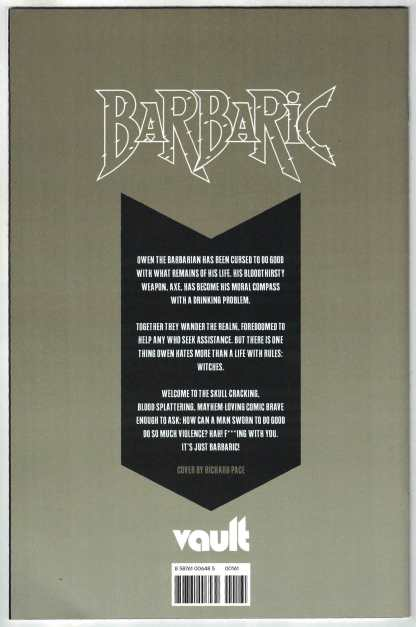 Barbaric #1 1:30 Richard Pace Variant Vault 2021 Michael Moreci VF/NM