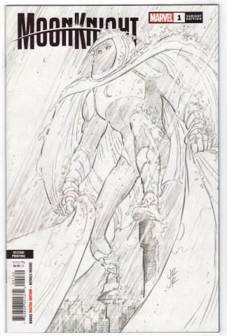 Moon Knight #1 Second Print 1:25 John Romita Jr Sketch Variant Marvel 2021 VF/NM