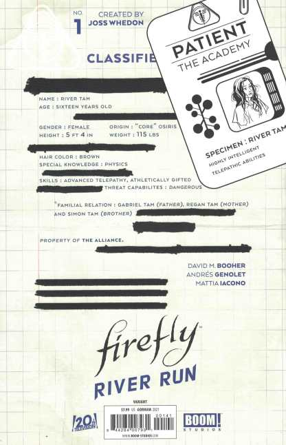 Firefly River Run #1 1:10 Adam Gorham Virgin Variant Boom 2021