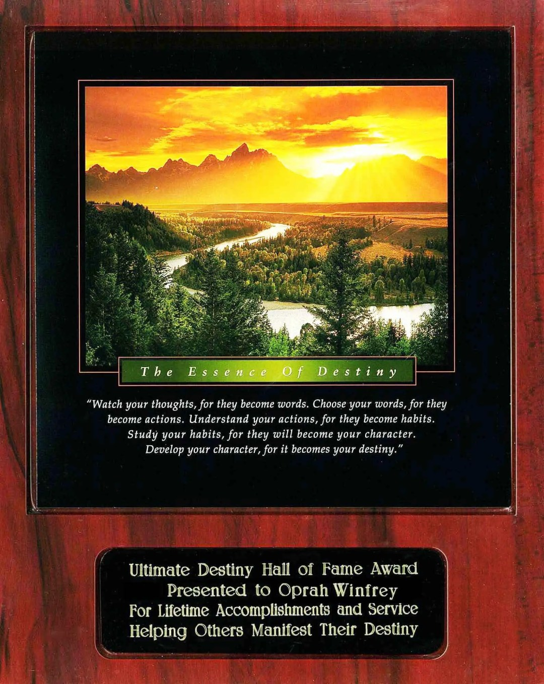Oprah Winfrey Ultimate Destiny Hall of Fame Award Recipient Plaque