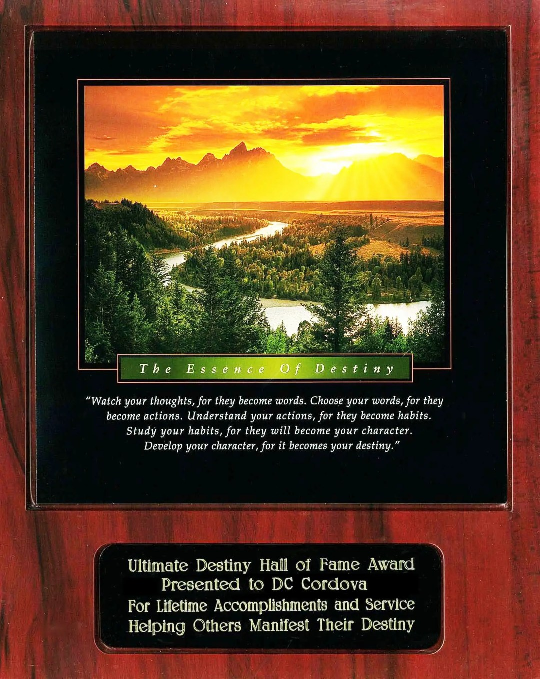 DC Cordova Ultimate Destiny Hall of Fame Award Recipient Plaque