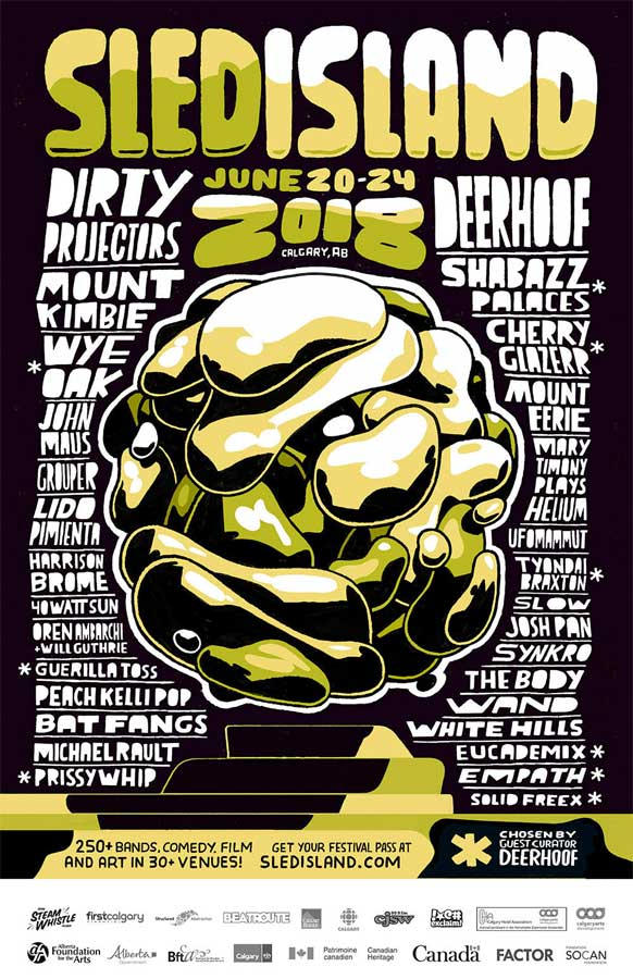 Sled Island Festival 2018 phase 2 poster Canada