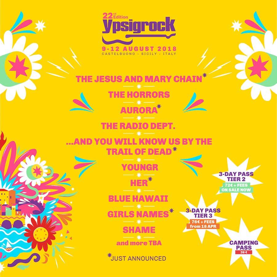 Ypsigrock Festival 2018 Italy poster