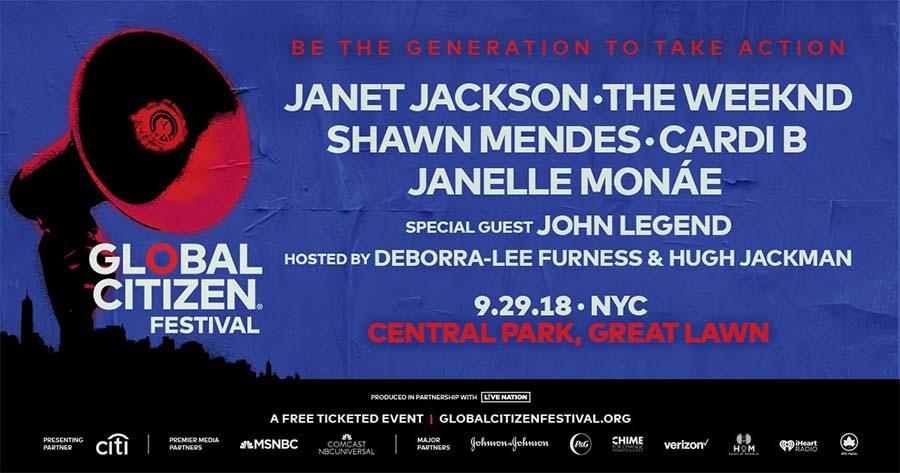 Global Citizen Festival 2018 poster