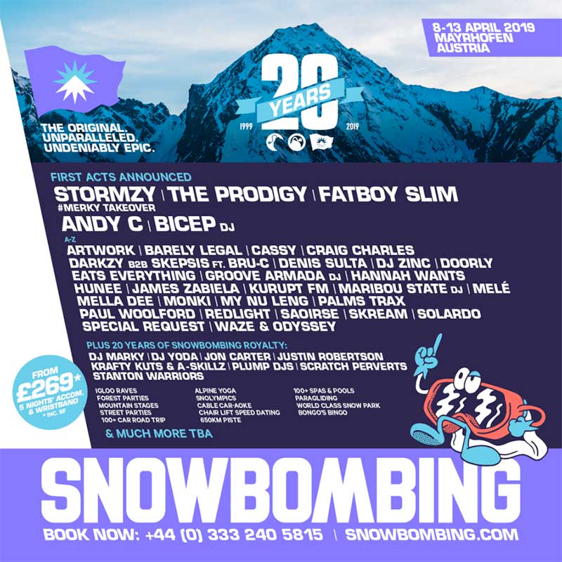 Snowbombing Festival Austria 2019 first acts poster