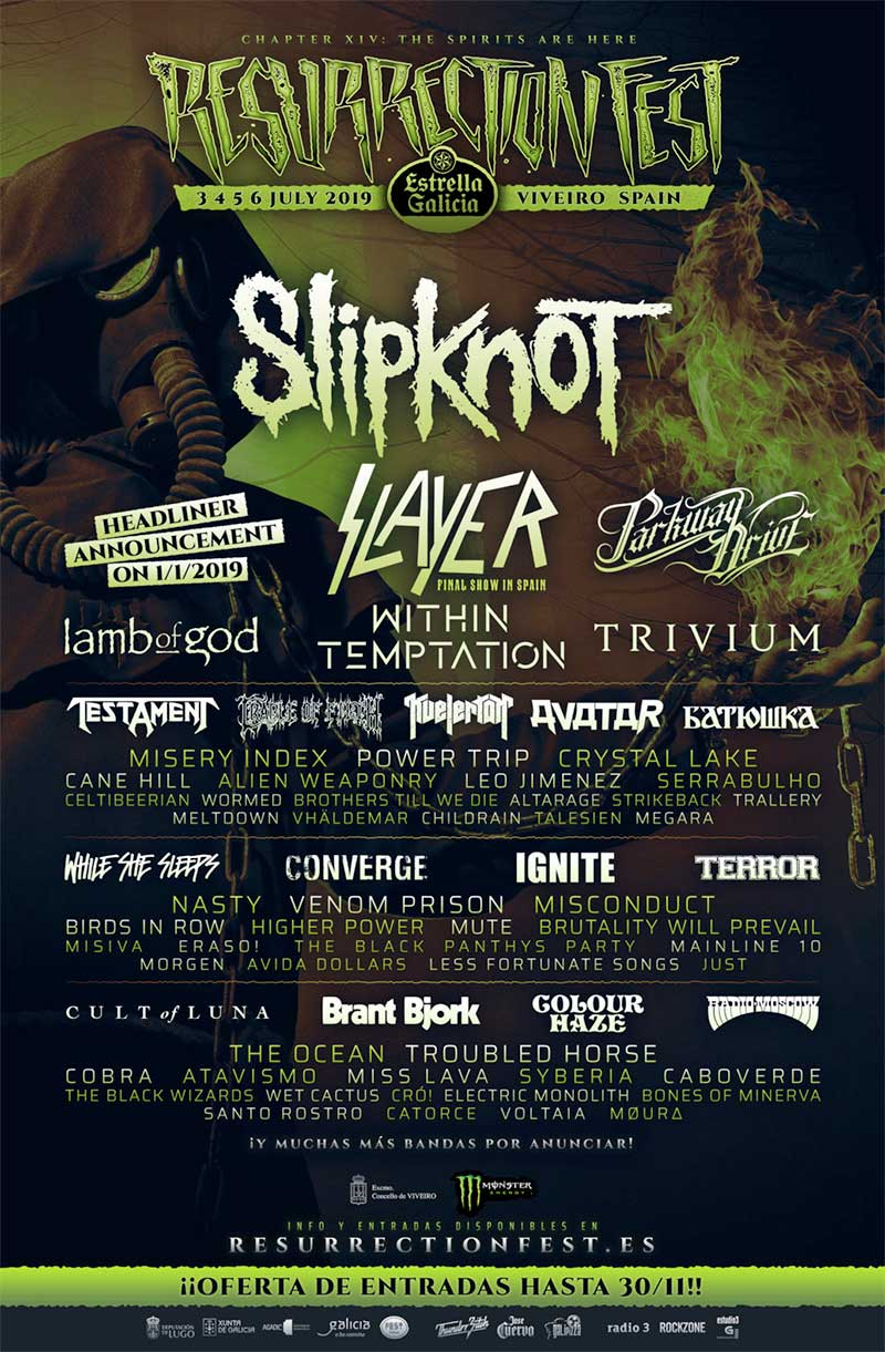 Resurrection Fest 2019 Spain latest poster with Lamb of God