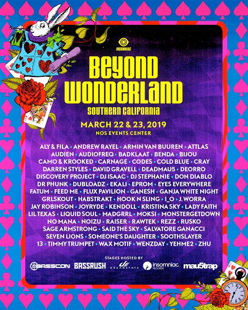 Beyond Wonderland 2019 lineup poster