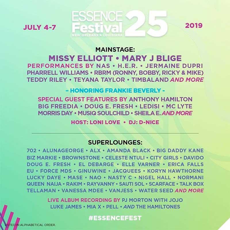 Essence Festival 2019 line up poster