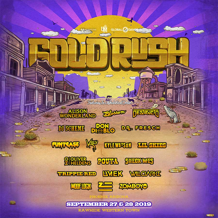 Goldrush Festival Arizona 2019 first acts poster