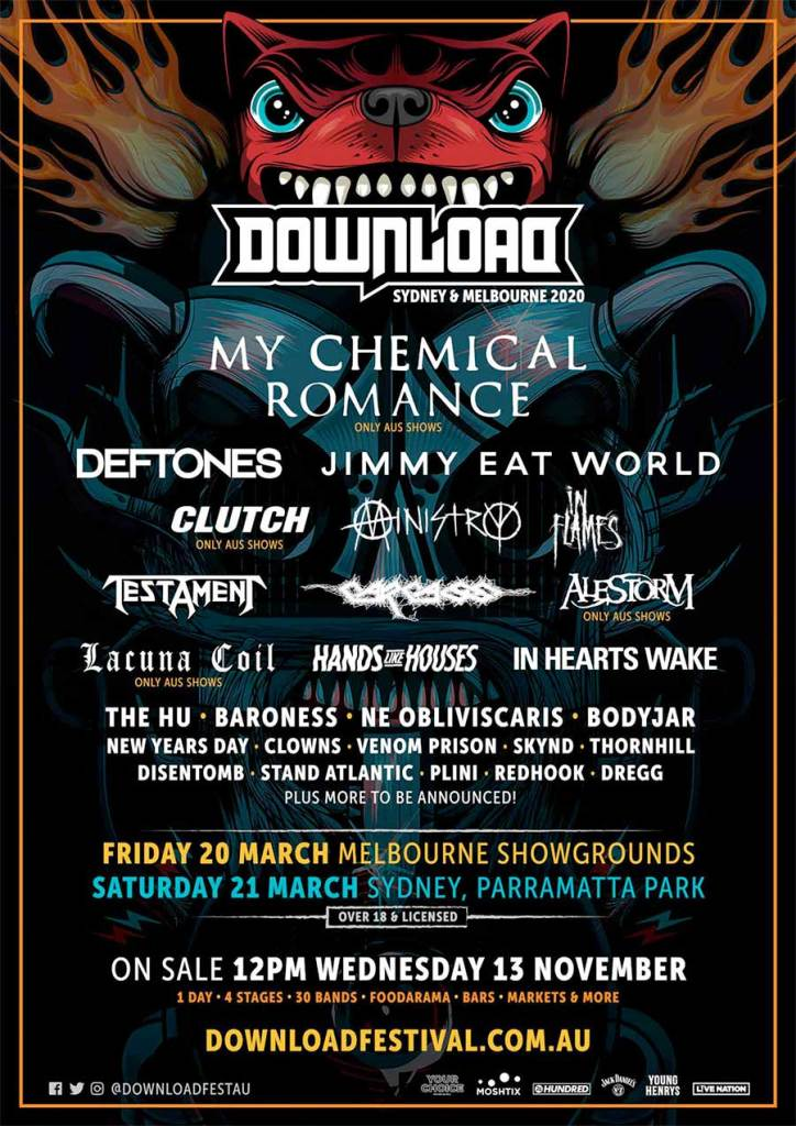 Download Australia 2020 first bands poster