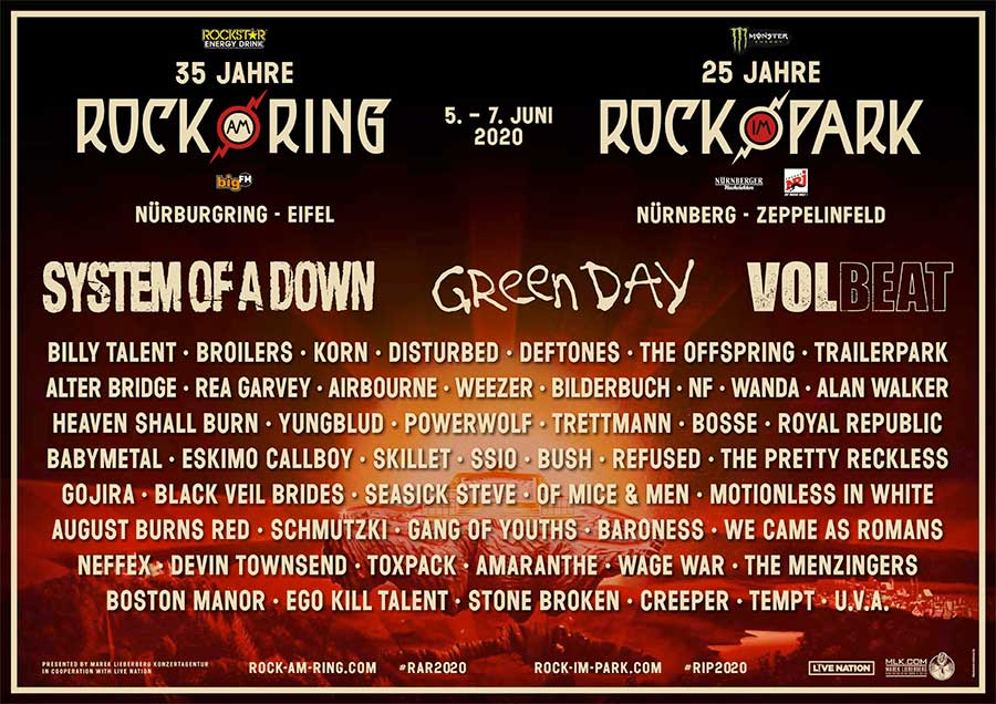 Rock Am Ring and Rock Im Park 30 news acts poster