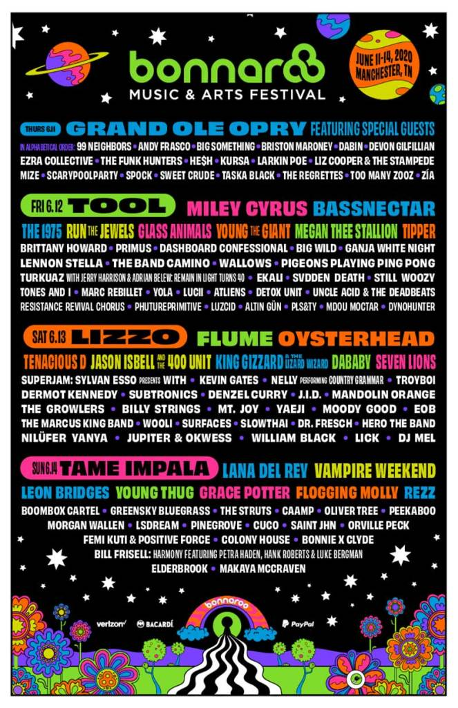 Bonnaroo Festival 2020 poster