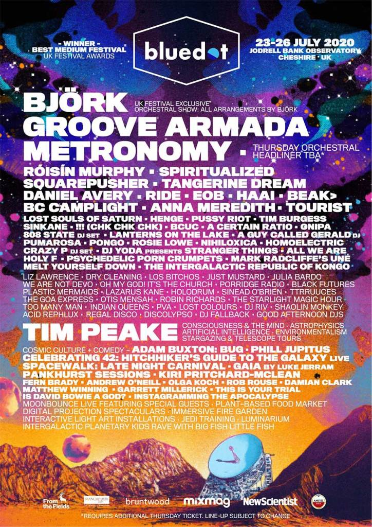 Bluedot Festival UK 2020 poster