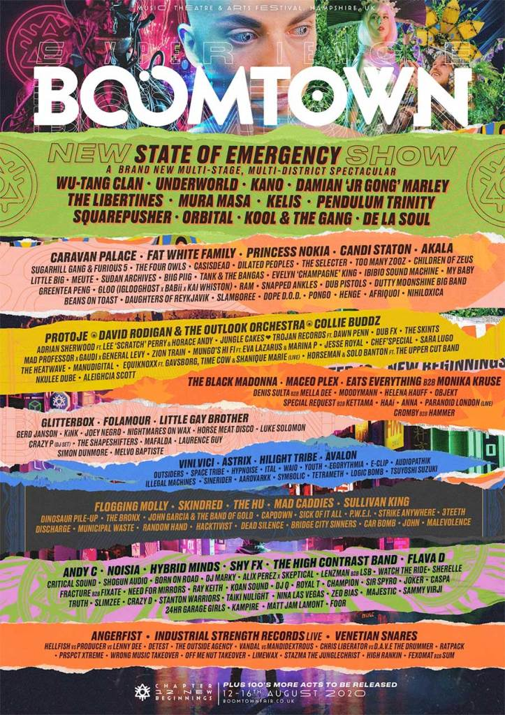 Boomtown Fair UK 2020 line up poster