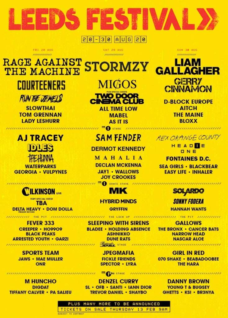 Leeds Festival 2020 first acts poster