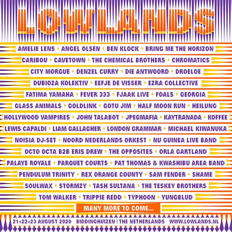 Lowlands Festival 2020 first 55 names poster
