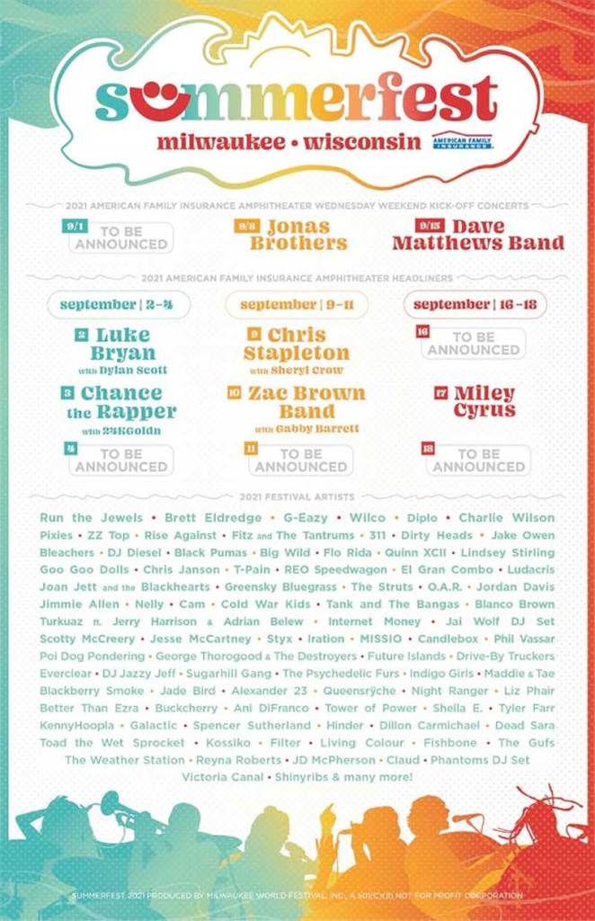 Summerfest 2021 line up poster