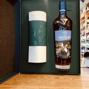 Macallan Whisky Anecdotes of Ages Each bottle bears a label with artwork which is a replica of the label on the bottle held in The Macallan