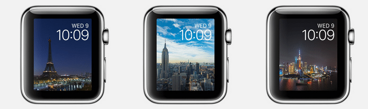 Watch OS 2 new faces. Image credit: Apple