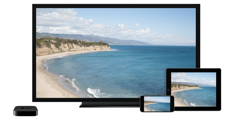 Apple TV, a flatscreen, and a couple of iOS devices. Photo: Apple